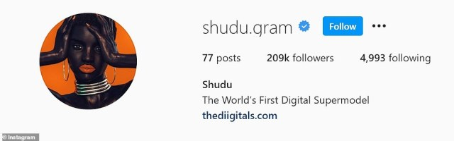 Shudu, described as the world's first digital supermodel, boasts more than 200,000 followers on Instagram