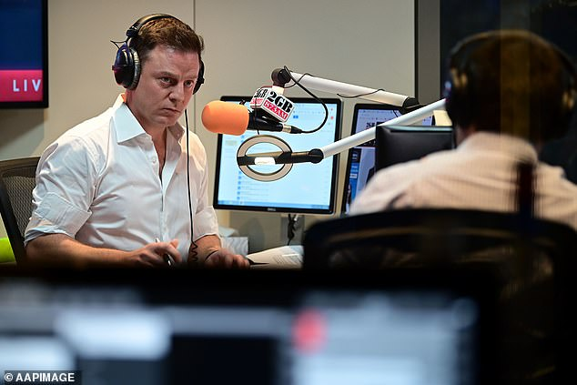 Slightly above: The latest radio survey results, published last week, reveal that Ray achieved a 17.2 per cent share over Ben Fordham's 16.1 per cent share. Pictured: Ben in June, 2020