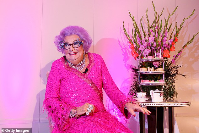 Smitten: His most beloved Australian guest happens to be Barry Humphries' drag queen alter ego. 'I adore Dame Edna, I would have run away with her if I hadn't been married,' he joked. Barry is pictured as Dame Edna in 2019