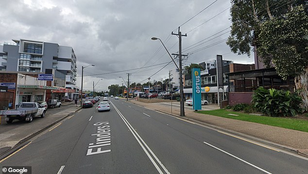 The group were walking along Flinders Street (pictured) in Wollongong at about 10.30pm on Saturday when they were hit