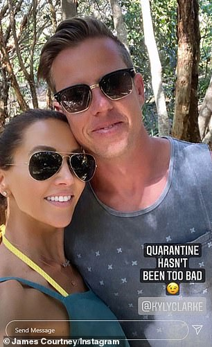 So sweet! Kyly Clarke shared a pictured of herself holding on to her boyfriend's James Courtney's hand as the pair enjoyed a drive together on Saturday a week after going Instagram official (pictured)