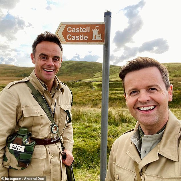 Protocol: The former Strictly star, 26, had a routine test with the other contestants ahead of the new series (hosts Ant and Dec pictured in North Wales last month)