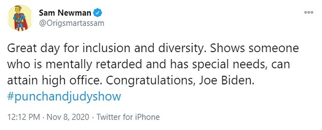 Newman has become known for raising controversy on the social media platform. In November, he deleted a tweet calling Joe Biden 'mentally retarded' after an online backlash