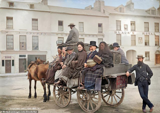 Men and women sit on a horse-drawn Royal Mail car in Galway's Eyre Square in August 1886. Mail coaches first operated in Ireland in the late 18th century, and by the time of this scene a century later, the postal service had been made far more efficient by inventions of the industrial age such as the railways and the telegraph. Mail boats were used to carry letters across the Irish Sea to mainland Britain. The first air-mail flight took place in 1929 and most letters are now carried by plane