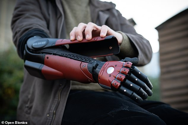 The arm can be accessorised with a range of magnetic clip-on covers from films and pop culture