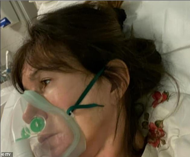 Ordeal:The former glamour model was left at 'death's door' during her coronavirus battle (pictured while battling the virus)