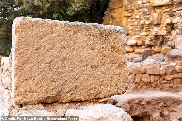 The archaeologists found a stone dating back to 400 AD, which is marked with crosses – perhaps carved by early pilgrims