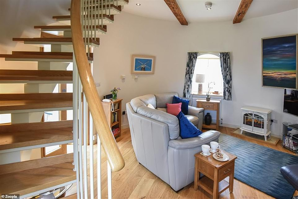 Making an entrance: The mill has a living room with wooden floors and a staircase on the ground floor