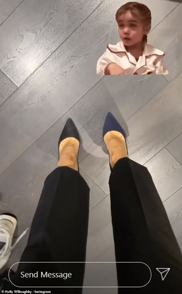 'One of those days': The ITV veteran, 39, inspected her footwear from her dressing room and noticed the almost identical heels were in different colours