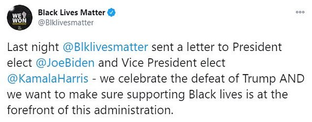 BLM is seeking to make sure that support for black people is at the forefront of the new presidential administration