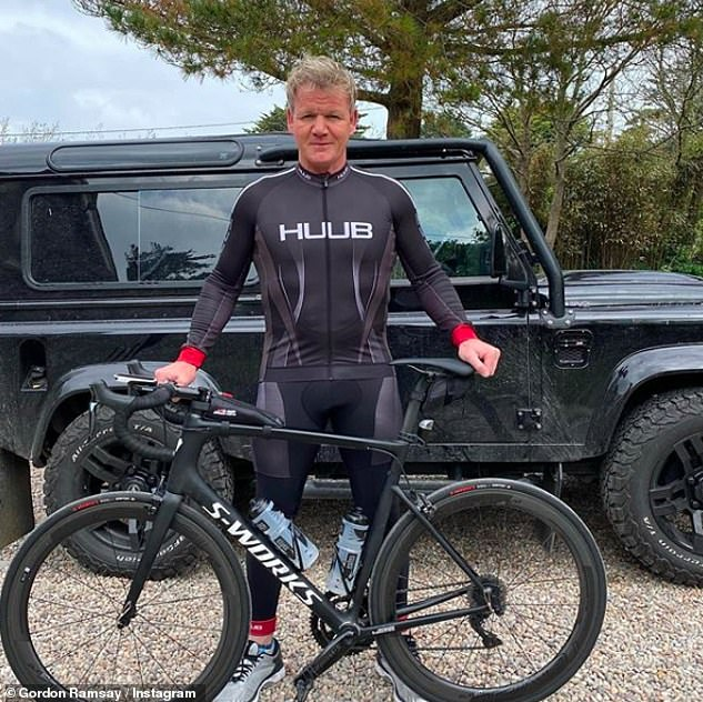 Keeping fit: During the first lockdown, he caused anger with Cornish locals after setting out on a number of extensive cycles - even celebrated one '26.2 mile' outings
