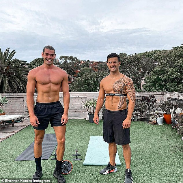 Working hard! Bachelorette stars Adam Todd and Shannon Karaka showed off their bulging muscles as they completed a workout on the 'roof of their new bachiepad' on Friday