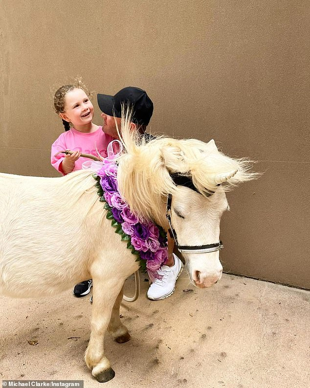 Sweet:Kelsey Lee had a wonderful birthday celebration on Friday, too, as her dad Michael Clarke (pictured) and his girlfriend Pip Edwards gifted her with a 'unicorn'