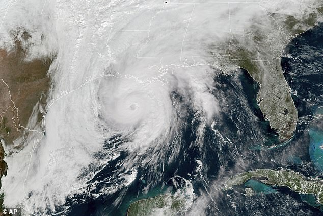 Averages for the Atlantic hurricane season have increased one hurricanes and two named storms per year. Pictured: In 2020, Hurricane Zeta covered more than 1,000 miles of land before losing power