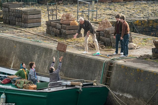 Tragic: Mountbatten was killed by a bomb that had been planted on his fishing boat by the Provisional Irish Republican Army, with IRA claiming responsibility for the tragedy (pictured filming the scenes for The Crown)