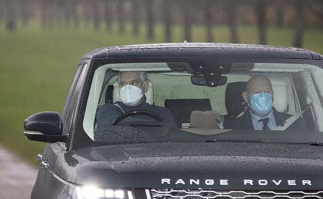 Wearing a mask, he was seen driving his large black vehicle as he climbed the long walk to Windsor Castle