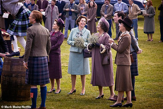 Erin said she admired the Princess Royal's courage and `` stamina, '' which she says largely stems from not having a typical `` mother figure '' as a child.  Photographed as Anne in a scene with Prince Philip (Tobias Menzies), Princess Margaret (Helena Bonham Carter), The Queen (Olivia Colman), The Queen Mother (Marion Bailey) and Prince Charles (Josh O'Connor)