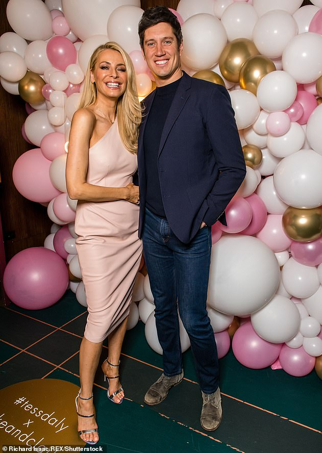 'We've forgotten about that': It comes after Vernon claimed that he and wife Tess have 'moved on' from his 'sexting scandal' with Rhian Sugden ten years ago (pictured in March)