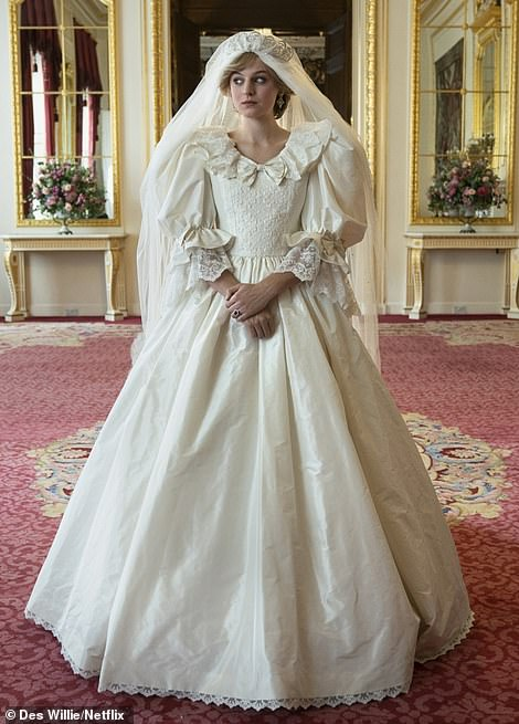 Wow! Diana's wedding dress itself proved to be an incredible sight (pictured in The Crown)