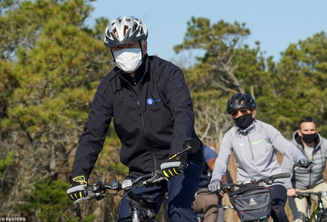 Meanwhile, Joe and Jill Biden went for a bike ride in a state park in Delaware, sporting masks as they rode