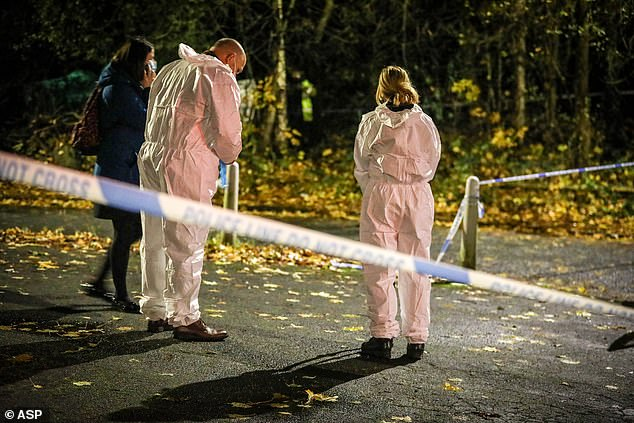 Forensic officers are pictured in Moston after Julie's body was discovered in an area of woodland
