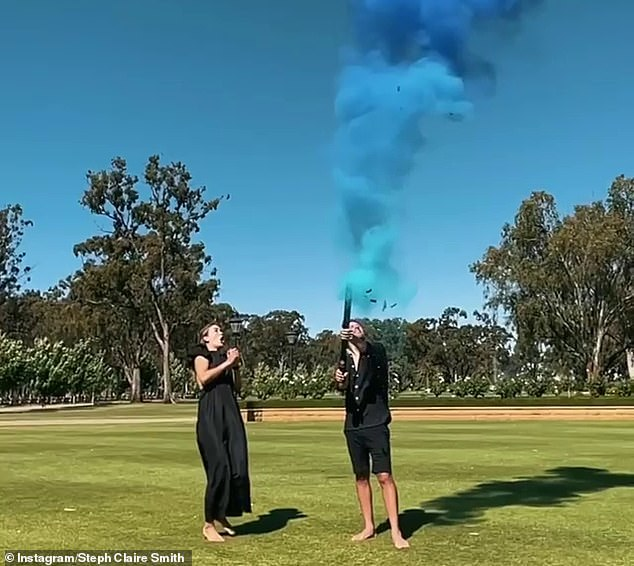 It's a boy! Steph and husband Josh Miller were overjoyed when they saw blue smoke launch into the sky to indicate they were having a little boy at their gender reveal