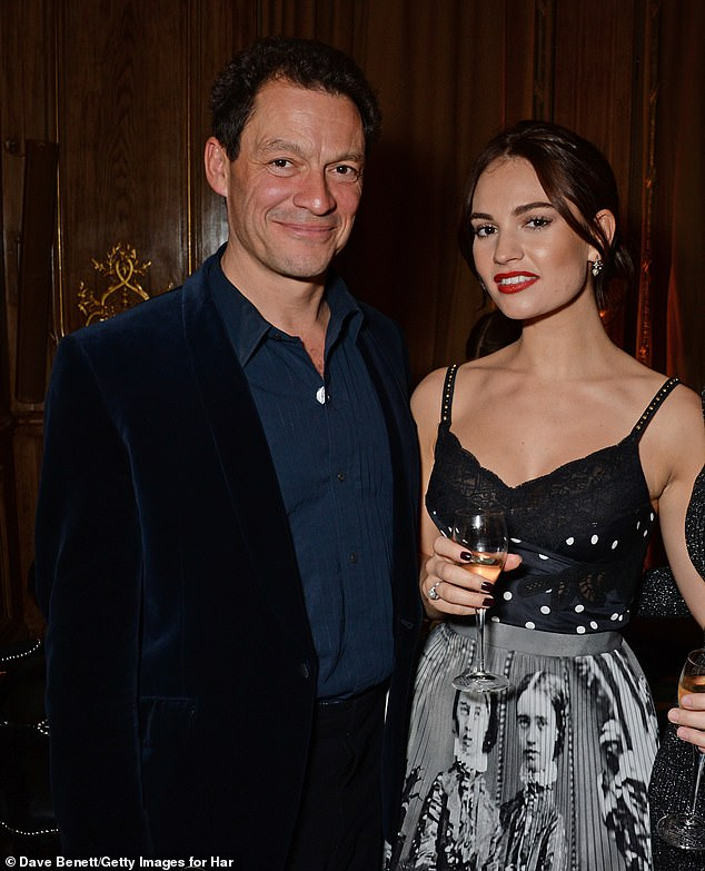 Dominic West's friendship with Lily James, right, has led to speculation about their exact nature of the pair's relationship