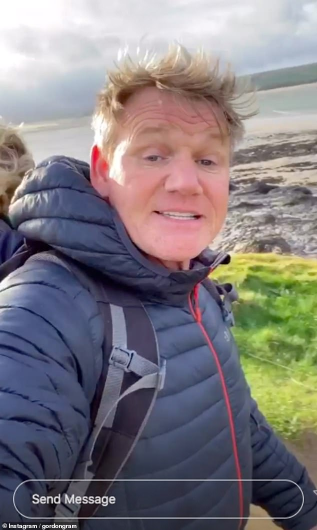 Family outing: Gordon Ramsay dotes on adorable son Oscar as he carries him on his back while on a run in Cornwall on Saturday