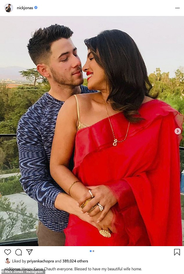 Looking fab: Nick and Priyanka have been celebrating multiple holidays in the Hindu festive season - last week they rang in Karva Chauth together
