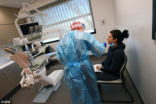 The rapid coronavirus tests (traditional coronavirus testing pictured) claim to detect coronavirus antibodies in the bloodstream within 10 minutes