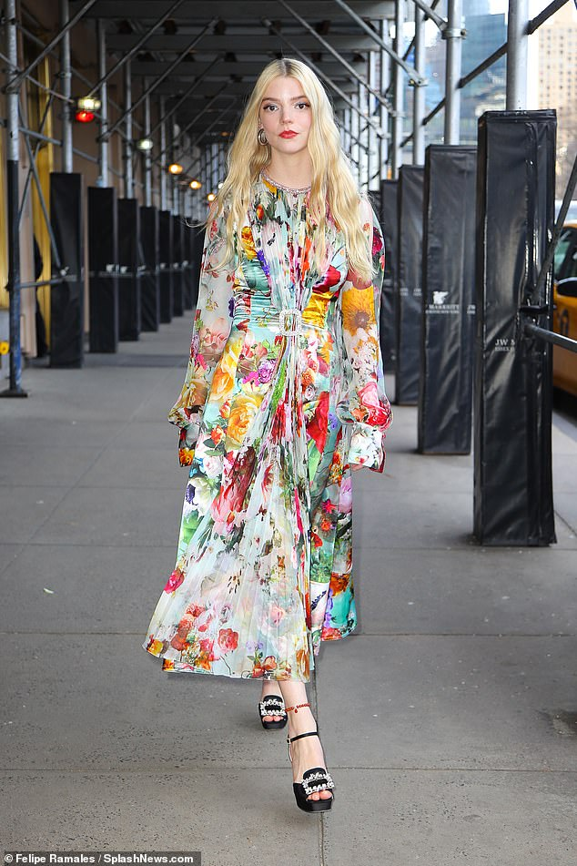 Anya Taylor-Joy looks radiant in a Prabal Gurung floral dress while leaving an interview in New York City