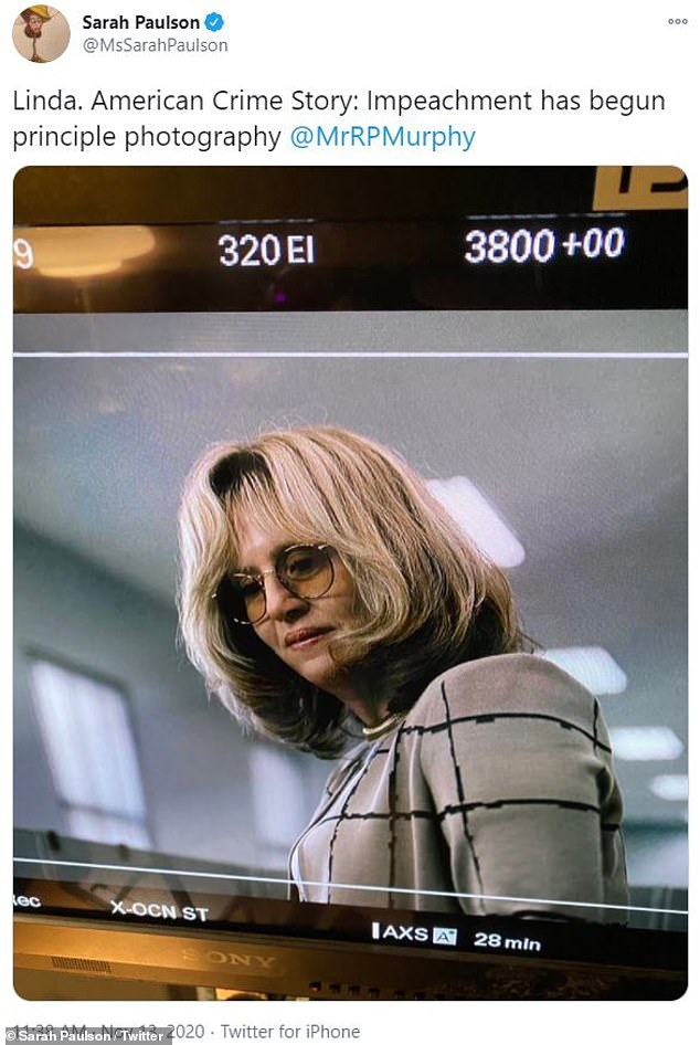 In character: Sarah Paulsonwent full '90s Saturday, as she offered a first look at her portrayal of Linda Tripp on the set of Murphy's American Crime Story: Impeachment, inspired by the infamous Bill Clinton/Monica Lewinsky scandal
