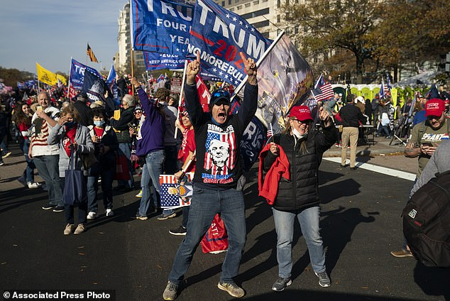 Supporters of President Donald Trump cheer as his motorcade drives past a rally of supporters near the White House, Saturday, Nov. 14, 2020, in Washington