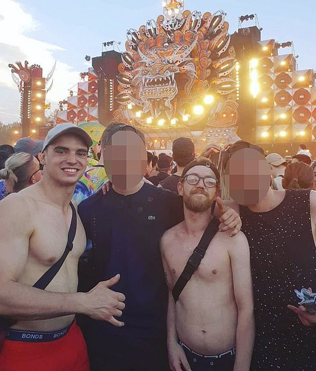 Flame (left) pictured with Liam Anderson (second from right).  A forensic psychiatrist told a court he believed Flame was in a drug-induced psychosis when he killed Mr Anderson