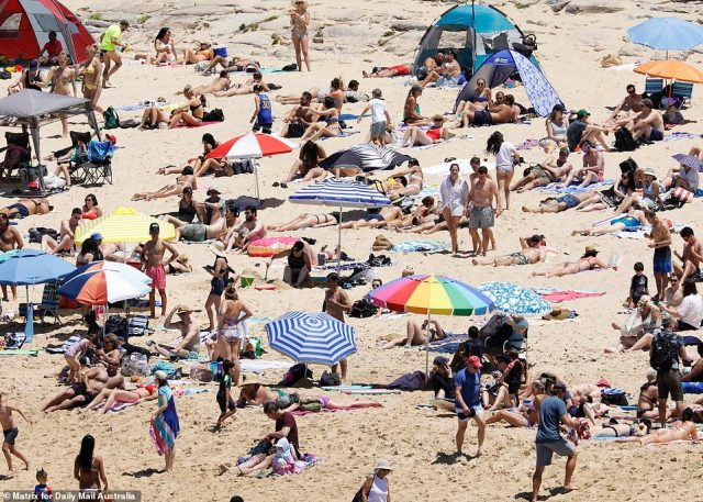 Those flocking to the beach in Sydney were urged to practice social distancing