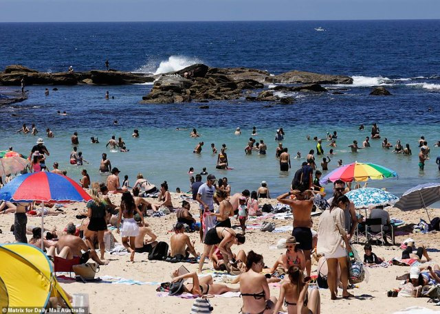 Sydneysiders headed to the beach on Sunday as the city reached a high of 26C. Pictured are some of the large crowds at Coogee Beach