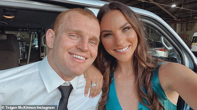 The wheelchair-bound former NRL player (pictured with wife Teigan) took to Instagram to share the news