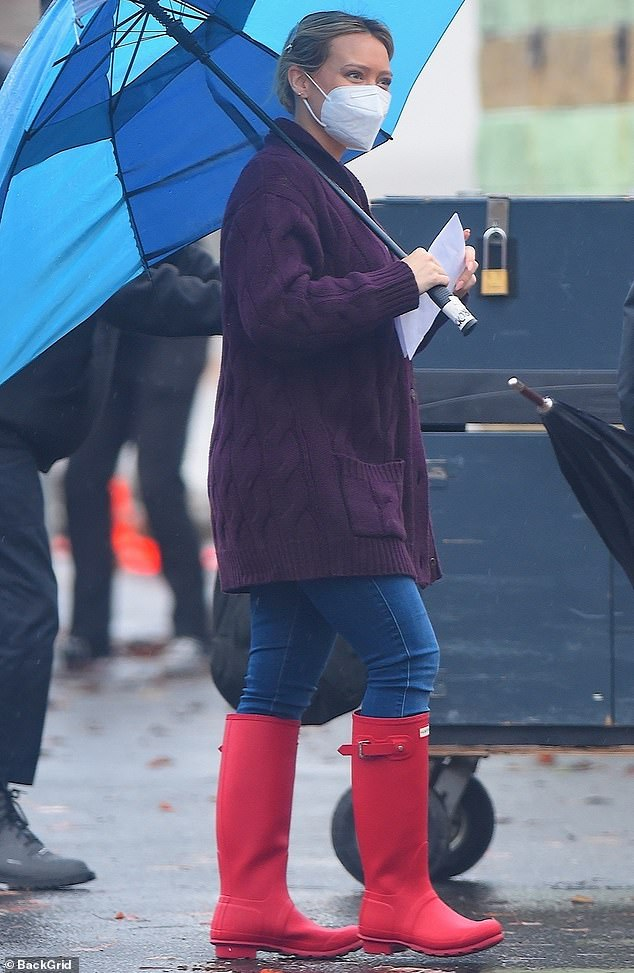 Back to work: She was later spotted braving the rain to film the seventh and final season of her TV Land series Younger in the Westbury village of Long Island, New York