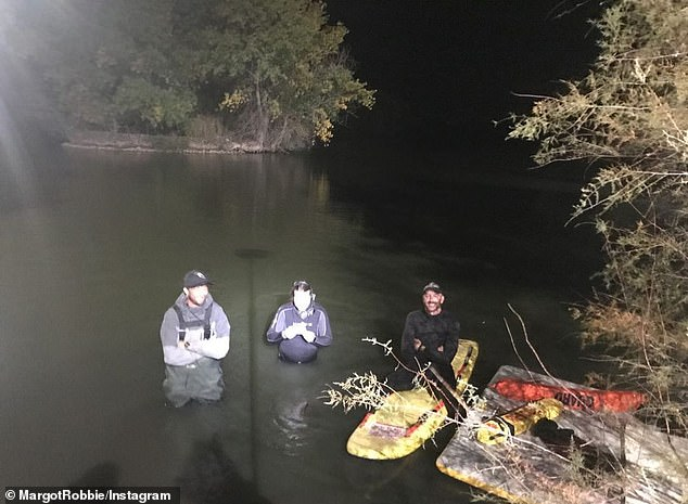 Cold and wet! The crew were shown working in a pond, wading in waist deep, in the night