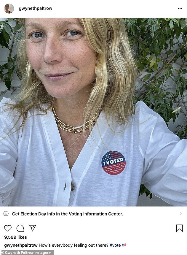 Rock the vote:Prior to Biden's big win, Gwyneth also used her massive platform to encourage her fans to vote in the election; Gwyneth pictured on Tuesday