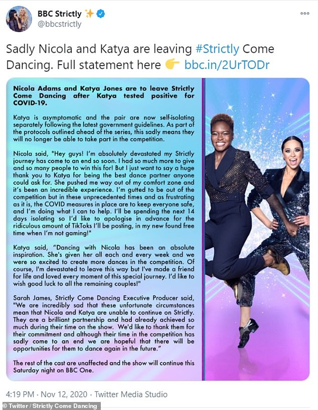 Unfortunate: News of her isolation comes just hours after Nicola Adams and Katya Jones had to withdraw from the competition because the professional dancer contracted COVID-19