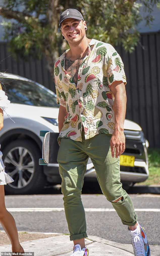 Familiar face:The Channel Ten stars appeared relaxed and at ease as they were joined at the Eastern Suburbs venue by former co-star Samuel Minkin (pictured), 27