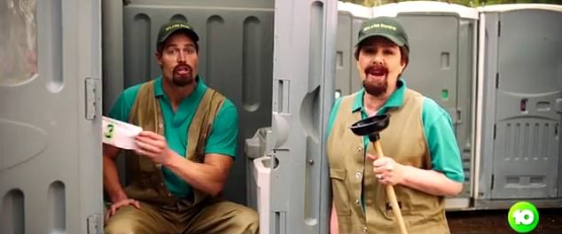 Toilet humour:Julia joined in the fun, dressed up as Kenny Smyth, the character from the toilet plumber comedy, Kenny, before Chris is seen sitting on a portaloo in the same outfit