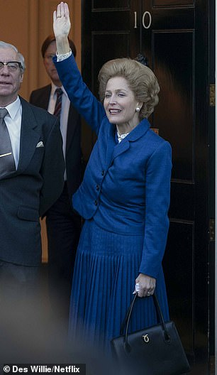 'Never in my life would I wear the shoes she wore': Gillian Anderson (L) reflected on portraying 'divisive' former Prime Minister Margaret Thatcher in series four of The Crown