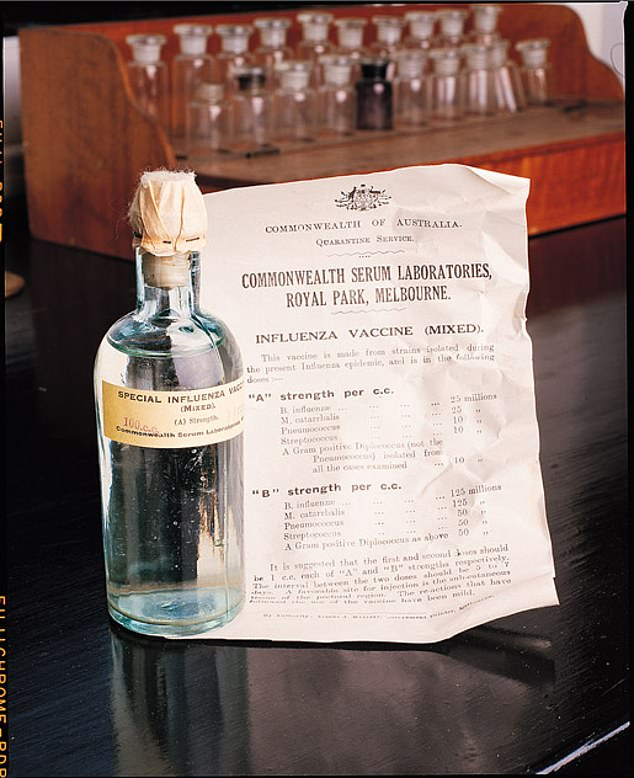 Seqirus is the flu vaccine arm of CSL Limited. CSL used to be the government-owned Commonwealth Serum Laboratories but it was privatised in 1994 and is listed on the ASX. Pictured: Australia's government vaccine made for the 1919 influenza pandemic.