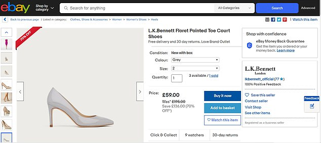 Among the items the fashion house has listed for sale are its Floret court shoes - worn by the Duchess of Cambridge in a nude patent leather - which are reduced from £195 to £59