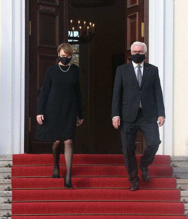President Frank-Walter Steinmeier and his wife Elke Buedenbender at his official residence at Bellevue Palace, Berlin