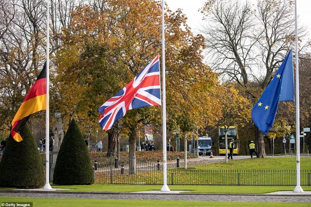 The event aims to reflect the importance of British-German ties amid ongoing Brexit tensions. Pictured: the German flag alongside the Union Jack and the European Union flag