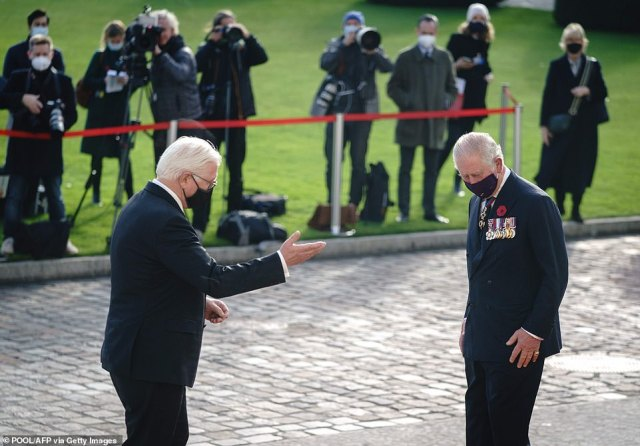 German President Frank-Walter Steinmeier welcomes Britain's Prince Charles, Prince of Wales at his arrival at the presidential Bellevue palace in Berlin
