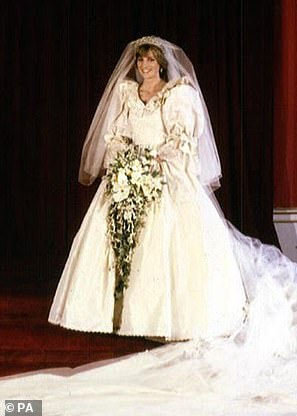 The real deal: Lady Diana Spencer wore a large ruffled wedding dress for her 1981 nuptials to Prince Charles (pictured in the official wedding photographs)